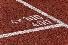 Running track. The white marks on a running track Stock Images