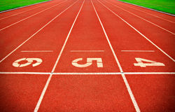 Running Track. And Lane Numbers Stock Photography