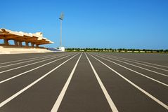 Running track. A racing track in the college ground Royalty Free Stock Photography