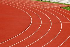 Running track. Athletics curve track  for running competition Royalty Free Stock Photos