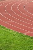 Running track. Athletics curve track for running competition stock images
