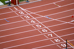 Running track. 1 2 3 4 5 6 7 8 9 on a running track finish line Stock Images