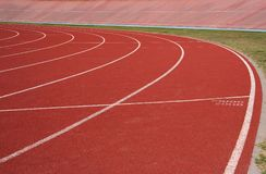Running track. At the oval showing the lanes Royalty Free Stock Image