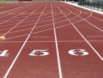 Running track. Track numbers at a college campus royalty free stock photography