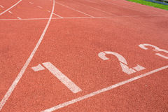 Running track for the athletes background Royalty Free Stock Images
