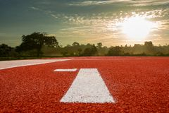 Running track for the athletes background, Athlete Track. Or Running Track royalty free stock photo