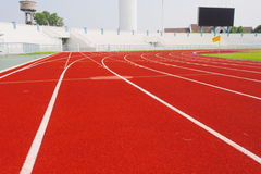 Running track for athletes  in stadium Stock Photography