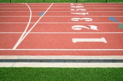 Running track or athletics track finish start line royalty free stock images