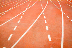 Running track. The Athletics stadium running track stock photos