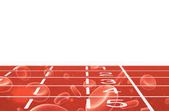 Running track with blood cells Royalty Free Stock Images