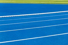 Running track blue color royalty free stock images
