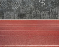 Running track with business concepts doodles Stock Photos