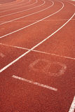 Running track. Close-up of the number eight lane on a running track Stock Photo
