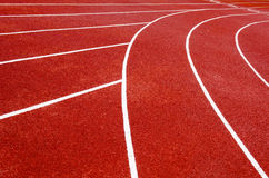 Running track. Close-up of red running track with lines Stock Photo