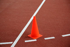 Running track with cone Stock Photography