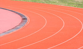 Running track curve in football stadium Royalty Free Stock Photo
