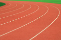 Running track. The curve line of running track royalty free stock photography