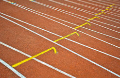 Running Track. Curve of an oval running track. Track & filed sports arena royalty free stock images