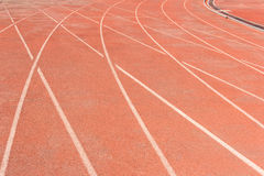 Running Track. Curve of red running track stock photo