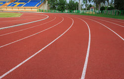 Running track. Curve of running track in stadium royalty free stock image