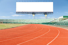 Running track with Empty white digital billboard screen for adve Royalty Free Stock Images