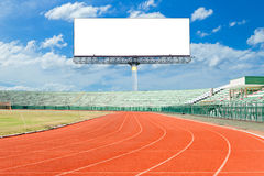 Running track with Empty white digital billboard screen for adve Royalty Free Stock Photography