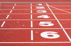 Running Track Finish. First to sixth place visible Stock Image