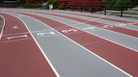 Running track finish line in stadium stock video footage