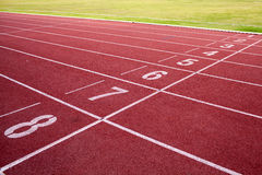 Running track and green field. Numbers on running track green field Royalty Free Stock Photo