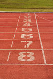 Running track lane number. Stadium Royalty Free Stock Image