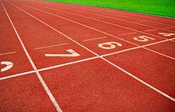 Running Track Lane Numbers. Backgraound Stock Images