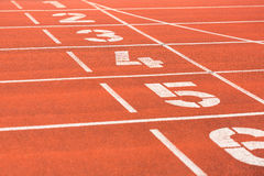 Running track with lane numbers Stock Images
