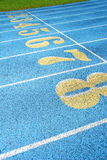 Running Track Lanes. Brightly colored numbers of running track lanes Royalty Free Stock Photos