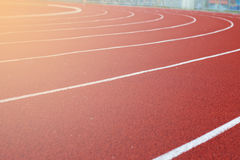 Running track with lighting back ground close Stock Image