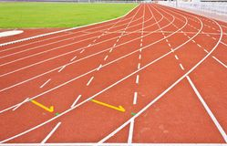 Running track lines. Curve of running track lines stock photo