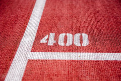 Running track. With 400m mark Stock Photos