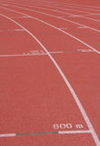 Running track with mark. The curve running track with mark in stadium Royalty Free Stock Photos