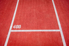 Running track with 400 mark. Running track with 400m mark Royalty Free Stock Photography