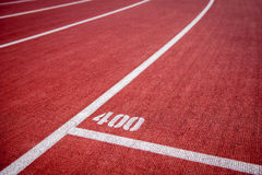 Running track with 400 mark Royalty Free Stock Photography