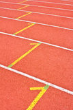 Running track marking rubber. Standard red color Royalty Free Stock Images