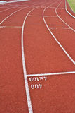 Running track marking rubber. Standard red color Royalty Free Stock Photography