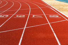 Running track  in the morning. Royalty Free Stock Images