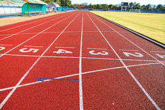 Running track  in the morning. Stock Photos