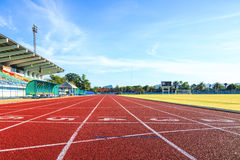 Running track  in the morning. Royalty Free Stock Photo