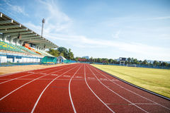 Running track  in the morning. Royalty Free Stock Photography