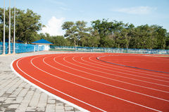 Running track  in the morning. Stock Photo