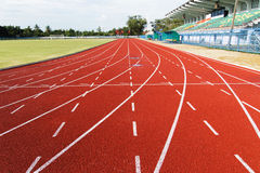 Running track  in the morning. Running track for athletics and competition in the morning Royalty Free Stock Photos