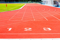 Running track. And track number: abstract concept Stock Images