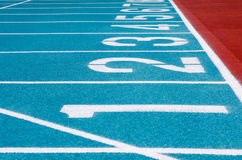 Running track. Number on running track in stadium Royalty Free Stock Photography