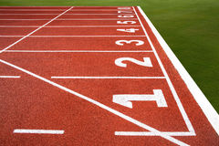 Running track with number 1-8, texture for background. Royalty Free Stock Photos